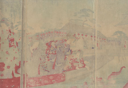 Boat Ride at Kameido Tenjin Shrine by Chikanobu (1838 - 1912)
