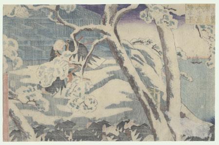 The 47 Ronin, Act 12: Lord Hangan's Tomb by Kuniyoshi (1797 - 1861)