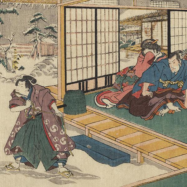 The 47 Ronin, Act 9: Yuranosuke's Country Retreat at Yamashina by Toyokuni III/Kunisada (1786 - 1864)
