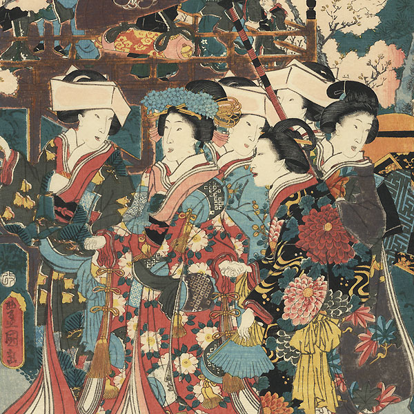 Visiting a Shrine in Spring, 1855 by Toyokuni III/Kunisada (1786 - 1864)
