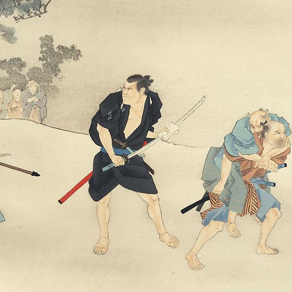 Horibe Yasubei and the Duel at Takadanobaba, 1921 by Matsumoto Fuko (1840 - 1923)