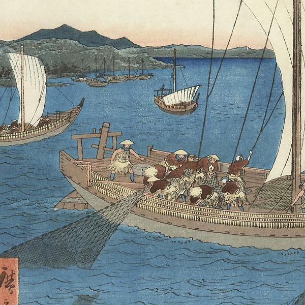Draw paint print yama bato original hiroshige 1797 for Japanese fishing boat