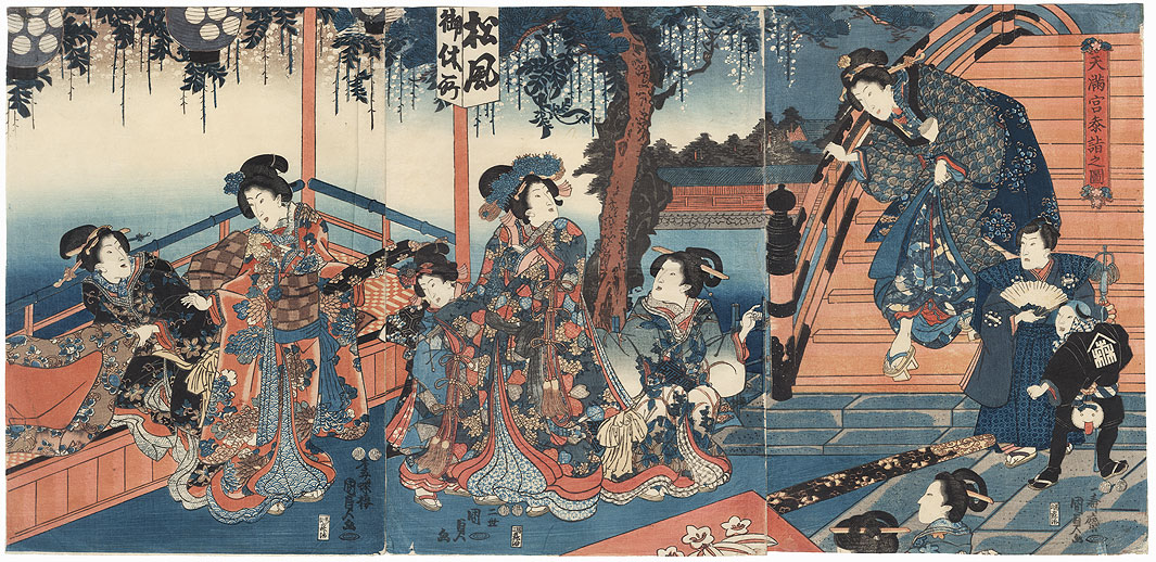 Beauties at Kameido Tenjin Shrine, 1847 - 1852 by Kunisada II (1823 - 1880)