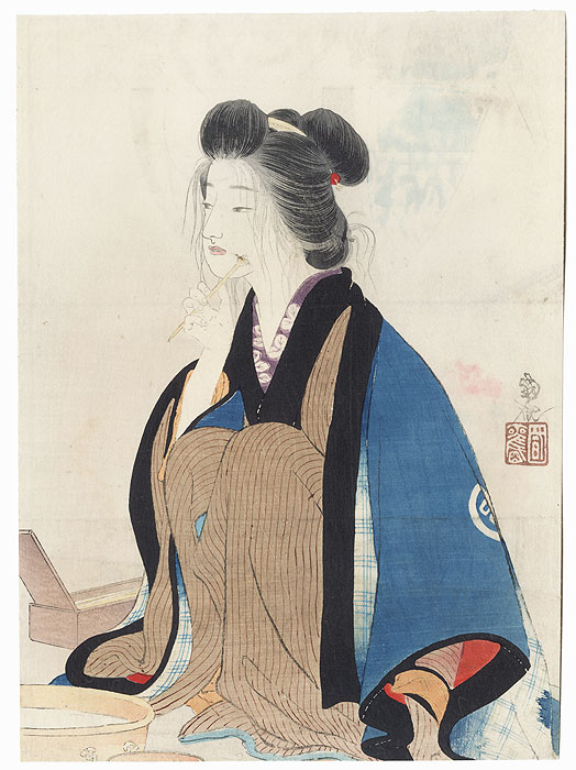 Beauty Holding a Toothbrush Kuchi-e Print by Odake Kokkan (1880 - 1945)