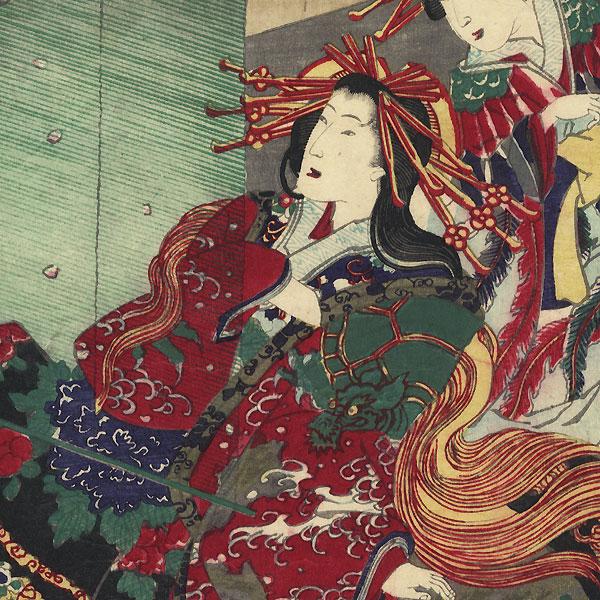 Edo, Flowers of Yoshiwara, the Courtesan Katsuragi, Fuwa Banzaemon and Nagoya Sanza. No. 6  by Chikanobu (1838 - 1912)