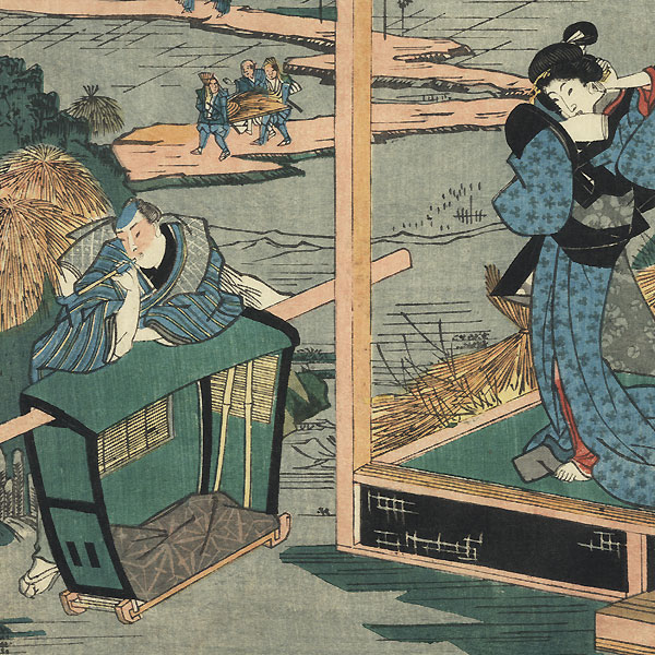 The 47 Ronin, Act 6: The Departure of Okaru and Kampei's Suicide by Kuniteru (active circa 1820 - 1860)