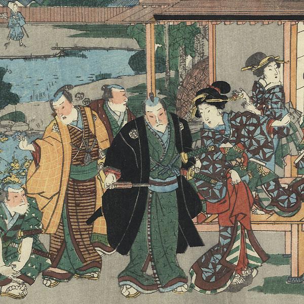 The 47 Ronin, Act 7: The Ichiriki Teahouse in Gion by Kuniteru (active circa 1820 - 1860)