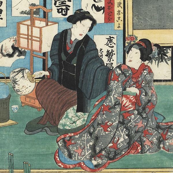 Waiting outside a Beauty's Home, 1856 by Toyokuni III/Kunisada (1786 - 1864)