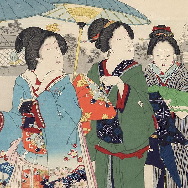 Beauties Strolling by Kunichika (1835 - 1900)