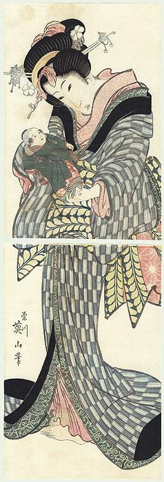 Beauty Holding a Baby Kakemono by Eizan (1787 - 1867)