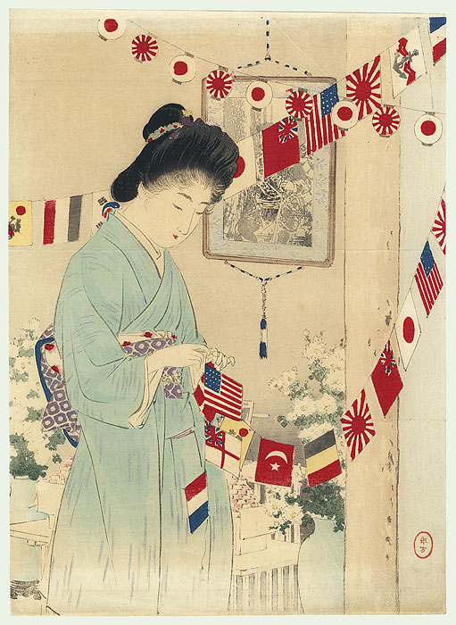 Flags of All Nations Kuchi-e Print, 1904 by Toshikata (1866 - 1908)