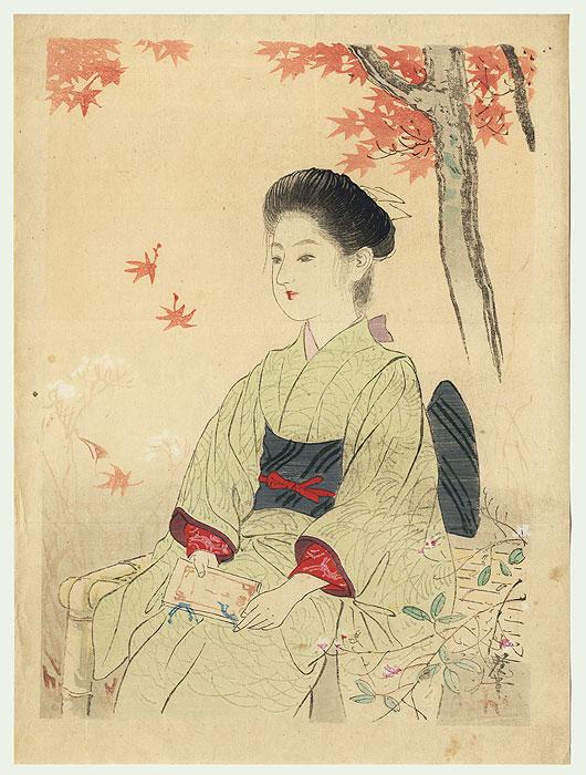 Beauty under a Maple Tree Kuchi-e Print by Terazaki Kogyo (1866 - 1919)
