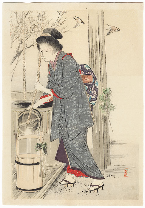 Fresh New Year's Water Kuchi-e Print, 1907 by Takeuchi Keishu (1847 - 1915)