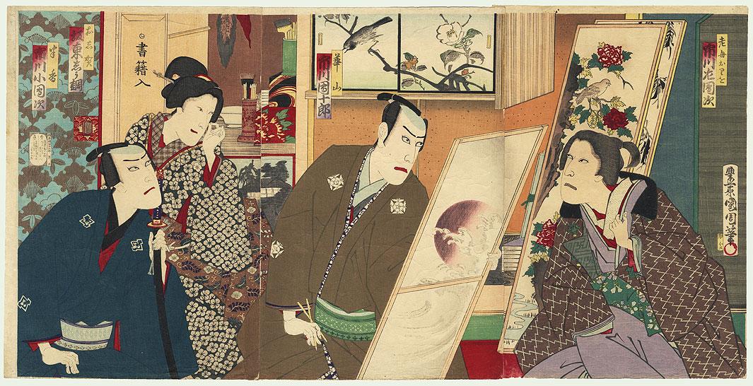 Artist Painting a Screen, 1886 by Kunichika (1835 - 1900)