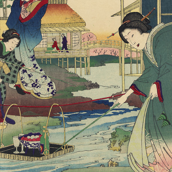 Kokonoe and Otomusume of the Daimonji-ro and Momotaro of the Nakanocho, 1884 by Chikanobu (1838 - 1912)