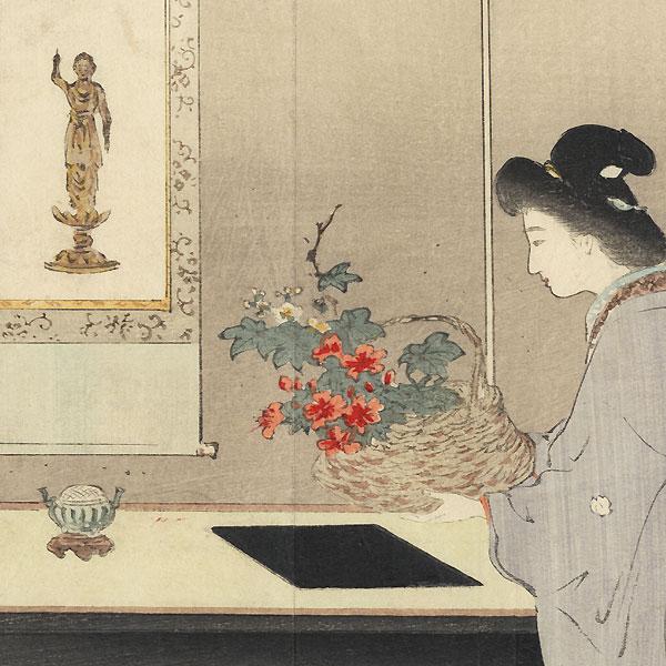 Contemplating the Buddha Kuchi-e Print by Suzuki Kason (1860 - 1919)