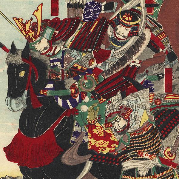 Ichi-no-Tani by Chikanobu (1838 - 1912)