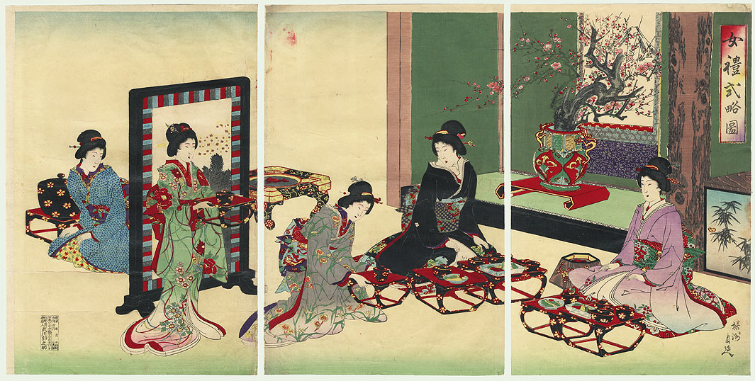 Enjoying a Meal, 1892 by Chikanobu (1838 - 1912)