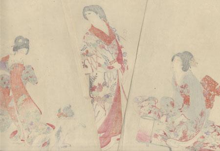 Dog Playing, 1895 by Chikanobu (1838 - 1912)