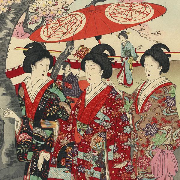 Cherry Blossom Viewing  by Chikanobu (1838 - 1912)
