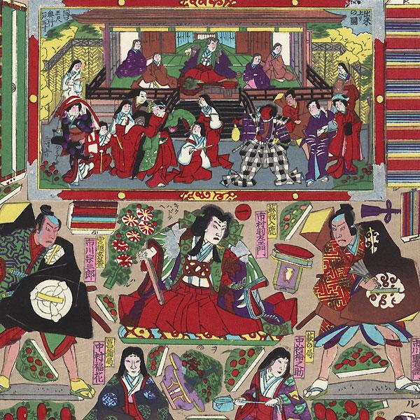 Palace and Courtyard Kabuki Paper Model Set, 1907 by Meiji era artist (unsigned)