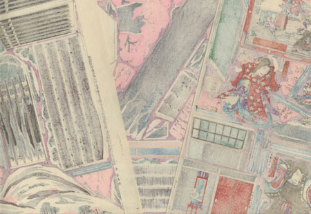 Hit Play of the Kabukiza: Seki no to Paper Model Set by Kunisada III (1848 - 1920)
