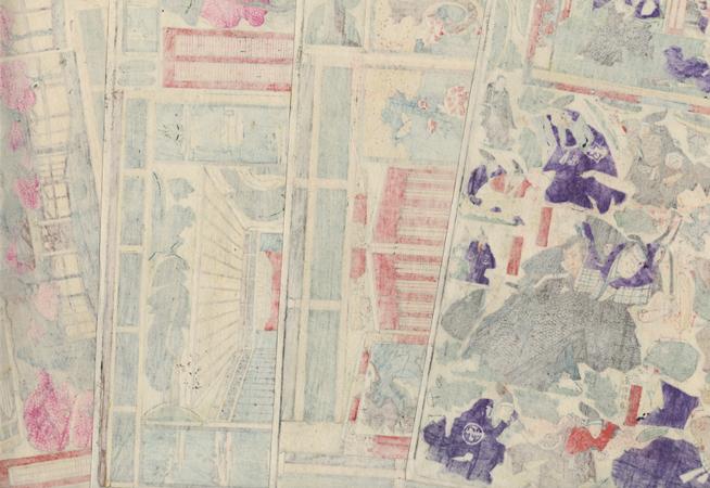 Act 3, Kanadehon Chushingura Kabuki Paper Model Set, 1911 by Meiji era artist (unsigned)