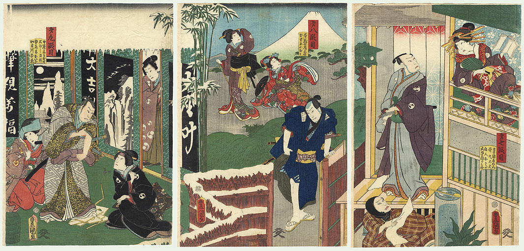 47 Ronin, Acts 7, 8, and 9 by Toyokuni III/Kunisada (1786 - 1864)