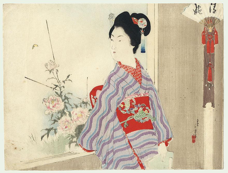 Beauty and Peonies Kuchi-e Print by Toshikata (1866 - 1908)
