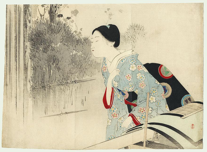 Exiting a Palanquin Kuchi-e Print, 1898 by Toshikata (1866 - 1908)