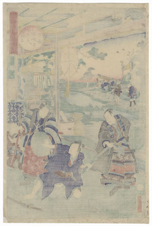 The 47 Ronin, Act 6: The Departure of Okaru and Kampei's Suicide by Kunisada II (1823 - 1880)