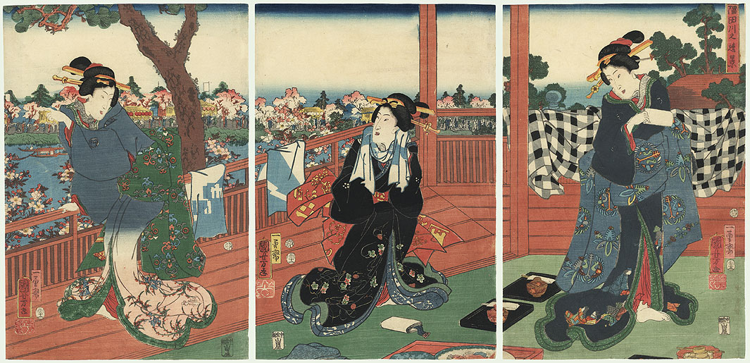 Beauties overlooking the Sumida River, 1854 by Kuniyoshi (1797 - 1861)