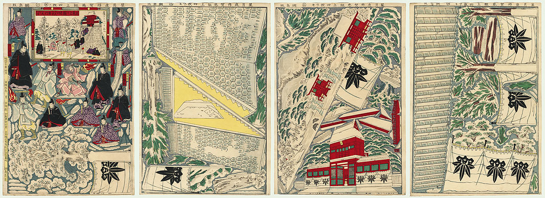Assassination of the Shogun Sanetomo Kabuki Paper Model Set, 1893 by Meiji era artist (unsigned)