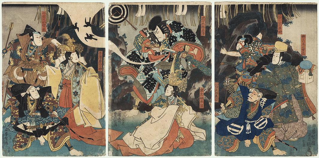 Kagekiyo Emerging from a Cave, 1850 by Toyokuni III/Kunisada (1786 - 1864)