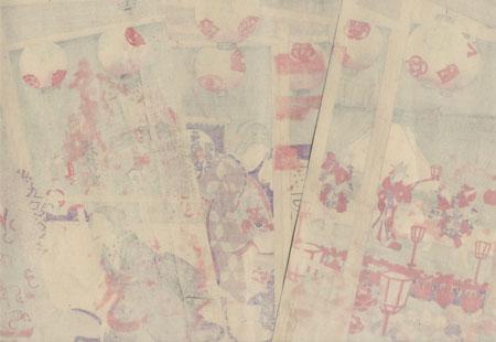 Eleventh Month: All-star Performance at Saruwakacho, 1889  by Chikanobu (1838 - 1912)