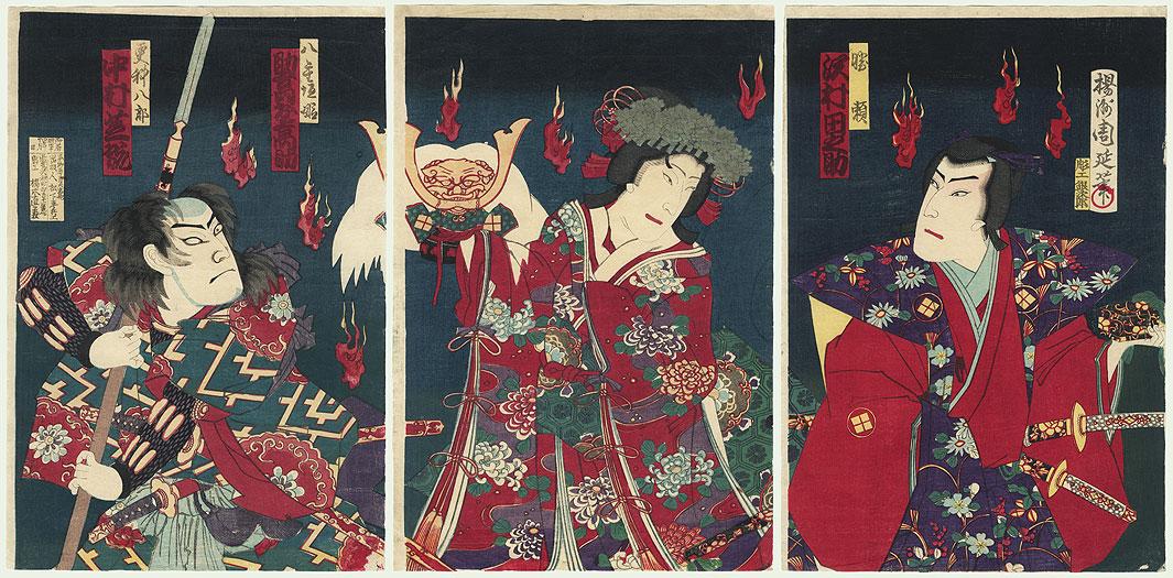 Princess Yaegaki and Magic Foxfires by Chikanobu (1838 - 1912)