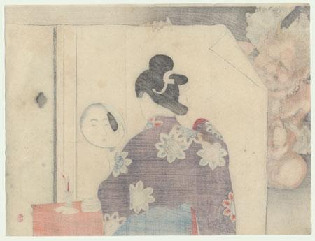 Beauty and Demon Kuchi-e Print, 1900 by Toshikata (1866 - 1908)