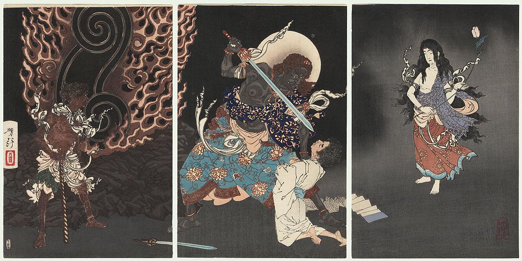 Fudo Myoo Threatens Yuten Shonin with His Sword, 1885 by Yoshitoshi (1839 - 1892)