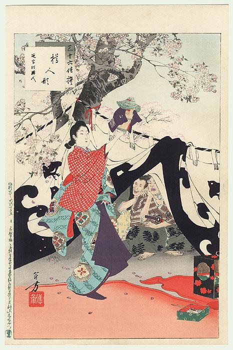 Handpuppet Made from a Bucket: Woman of the Enpo Era (1673-81) by Toshikata (1866 - 1908)