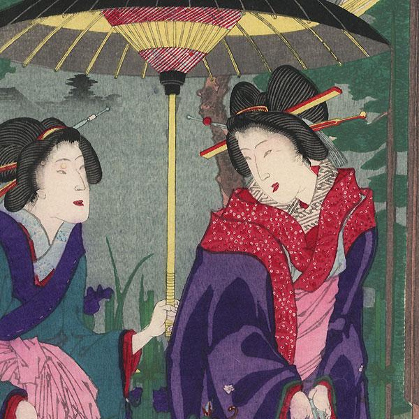 Shizue and Fujimurasaki of Daimonji-ro, 1883 by Chikanobu (1838 - 1912)