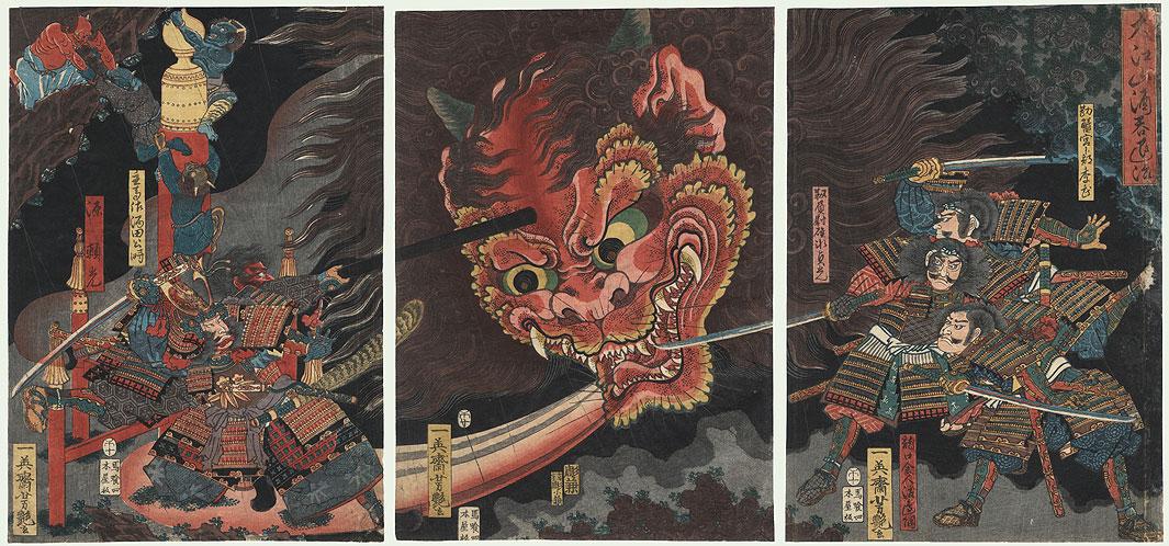 The Extermination of Shuten-doji at Oeyama, 1858 by Yoshitsuya (1822 - 1866)