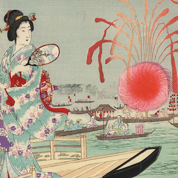 Fireworks on the River at Ryogoku, 1894 by Nobukazu (1874 - 1944)