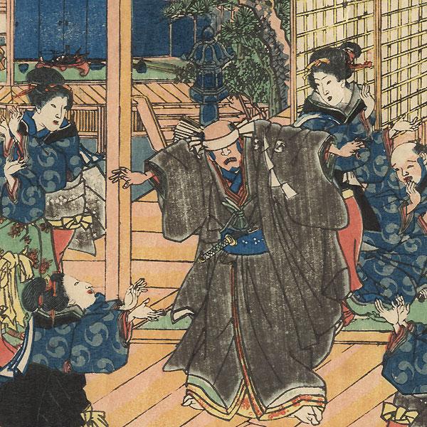 The 47 Ronin, Act 7: The Ichiriki Teahouse in Gion  by Kuniaki II (1835 - 1888)