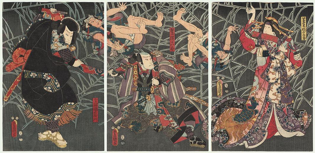 Minamoto no Yorimitsu and Tsuchigumo (the Earth Spider), 1853 by Toyokuni III/Kunisada (1786 - 1864)