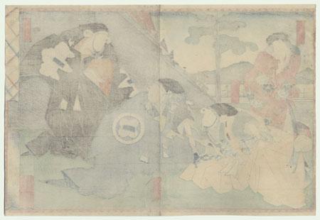 The 47 Ronin, Act 1: Tsurugaoka Hachiman Shrine: The Helmet Inspection by Yoshitaki (1841 - 1899)