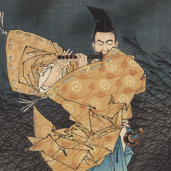 Fujiwara Playing the Flute by Moonlight by Yoshitoshi (1839 - 1892)