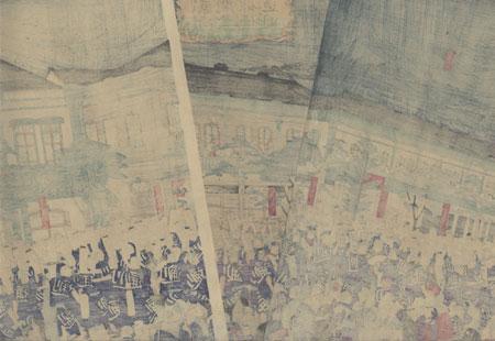 The Grand Opening of Kawarazaki-za Theater, 1874 by Hiroshige III (1843 - 1894)