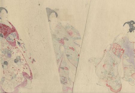 Playing Oibane, 1896 by Chikanobu (1838 - 1912)