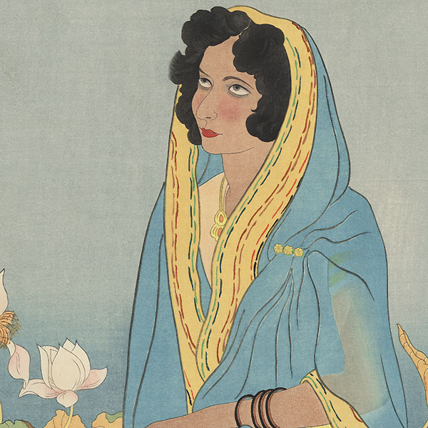 La Poetesse Indienne, 1941 by Jacoulet (1896 - 1960)
