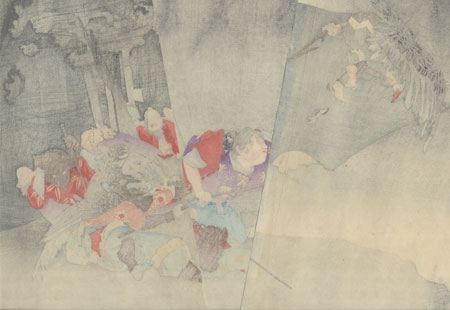 Ushiwakamaru Trains in the Sword under Kurama, 1896 by Shuko (active circa 1890s)